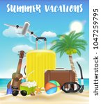 summer vacations with luggage... | Shutterstock .eps vector #1047259795