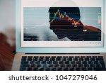 blockchain graph business... | Shutterstock . vector #1047279046