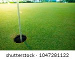 golf hole on a field in the... | Shutterstock . vector #1047281122