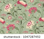 Stock vector seamless floral pattern in folk style with wildflowers leaves hand drawn vector illustration 1047287452