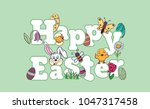 hand drawn colorful cute happy... | Shutterstock .eps vector #1047317458