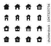 houses silhouettes icons set | Shutterstock .eps vector #1047325756