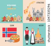 norway set with bergen wooden... | Shutterstock .eps vector #1047335296