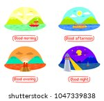mountain and sea landscape in... | Shutterstock .eps vector #1047339838