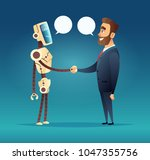 robot and a man greeted.... | Shutterstock .eps vector #1047355756