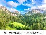 mountain landscape near gstaad  ... | Shutterstock . vector #1047365536