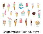 collection of vector ice cream... | Shutterstock .eps vector #1047374995