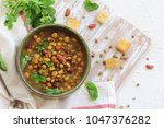 cooked mixed legumes beans... | Shutterstock . vector #1047376282