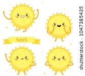 cute sun  character set  vector. | Shutterstock .eps vector #1047385435