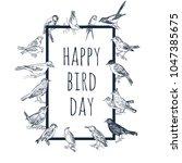 set of hand drawn birds.... | Shutterstock .eps vector #1047385675