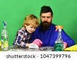 fatherhood concept. father and... | Shutterstock . vector #1047399796