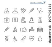 healthcare line icons. editable ... | Shutterstock .eps vector #1047405136