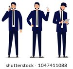 set of young bearded... | Shutterstock .eps vector #1047411088