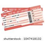 flight tickets. two red... | Shutterstock .eps vector #1047418132