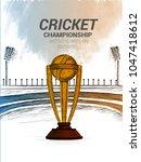 cricket batsman  playing... | Shutterstock .eps vector #1047418612
