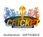 cricket batsman  playing... | Shutterstock .eps vector #1047418615