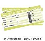 flight tickets. two green... | Shutterstock .eps vector #1047419365