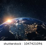 planet earth from the space at... | Shutterstock . vector #1047421096