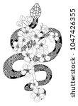 red snake vector and cherry... | Shutterstock .eps vector #1047426355
