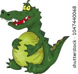 angry fat satiated crocodile. ...   Shutterstock .eps vector #1047440068