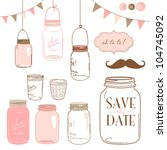 glass jars  frames and cute... | Shutterstock .eps vector #104745092