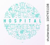 hospital concept in circle with ... | Shutterstock .eps vector #1047451108