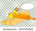 pop art girl small cook pizza.... | Shutterstock .eps vector #1047452002