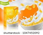 breakfast cereals with honey... | Shutterstock .eps vector #1047452092