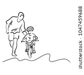 father teaching his son to ride ...   Shutterstock .eps vector #1047459688