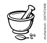 mortar and pestle with spices... | Shutterstock .eps vector #1047472408