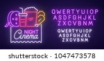 cinema night neon sign  bright... | Shutterstock .eps vector #1047473578