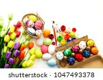 decorated eggs and spring... | Shutterstock . vector #1047493378