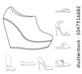 a variety of shoes outline...   Shutterstock .eps vector #1047516682