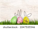 happy easter. colorful  funny...   Shutterstock . vector #1047535546