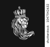 hand drawn illustration of lion ... | Shutterstock .eps vector #1047542632