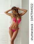beautiful sexy blonde girl in... | Shutterstock . vector #1047544522