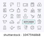 kitchen icons. vector thin line ... | Shutterstock .eps vector #1047546868