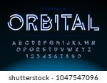 futuristic display font design  ... | Shutterstock .eps vector #1047547096