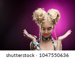 smiling cute face nice blonde... | Shutterstock . vector #1047550636
