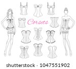 Vintage and modern corsets collection with beautiful fashion models in lace corsets and garter belts, vector sketch illustration isolated on white background.