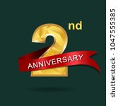 2nd anniversary years... | Shutterstock .eps vector #1047555385
