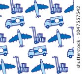 dou color truck and airplane... | Shutterstock .eps vector #1047557542
