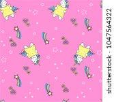 seamless pattern cute unicorn ...   Shutterstock .eps vector #1047564322