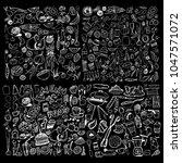 hand drawn food elements. set... | Shutterstock .eps vector #1047571072