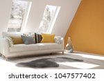 white room with sofa and winter ... | Shutterstock . vector #1047577402