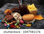 unhealthy products. food bad... | Shutterstock . vector #1047581176