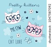 cute pretty cats animal vector... | Shutterstock .eps vector #1047587092