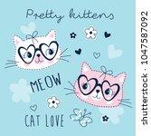 cute pretty cats animal vector...   Shutterstock .eps vector #1047587092