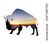 silhouette of bison with... | Shutterstock . vector #1047589702