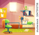 vector student small room ... | Shutterstock .eps vector #1047593758